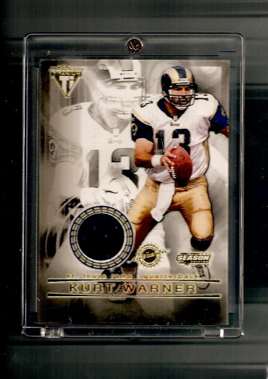 2001 Private Stock Titanium Kurt Warner Game-Used Jersey card - Rams