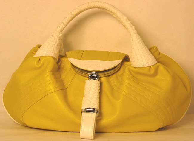 Designer Inspired Spy Bag Yellow White Satchel