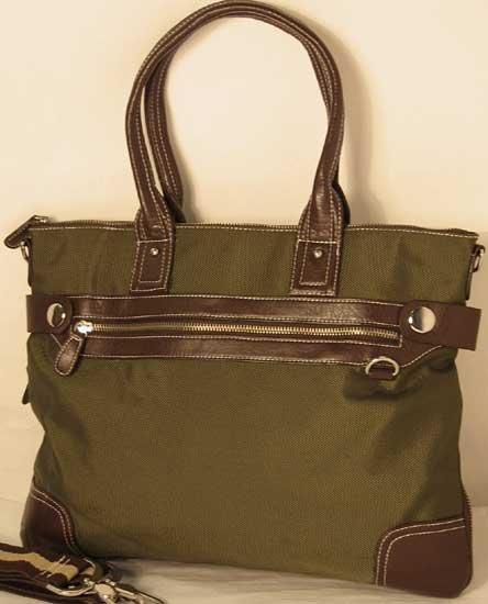 Olive Green Nylon Tote Bag Laptop Case