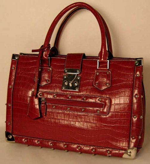 Black Brown Red Green Studs Briefcase Tote Lock and Key