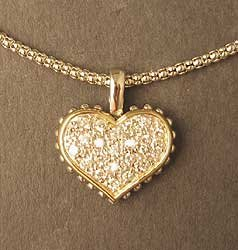 Sterling Silver with Gold Vermeil Heart Pendant on Sterling Chain