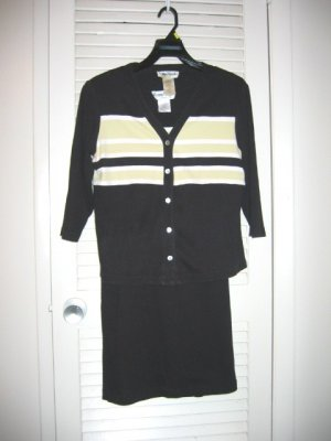 Black/Lime Green Stripe Ronni Nicole Sleeveless Knit Dress and Jacket