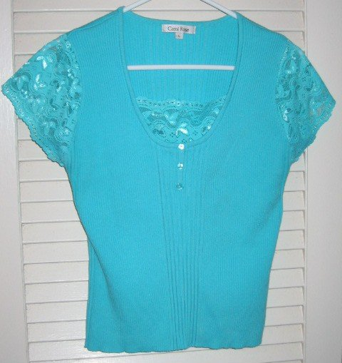 Blue Lace Sweater Blouse with Ribbing Large
