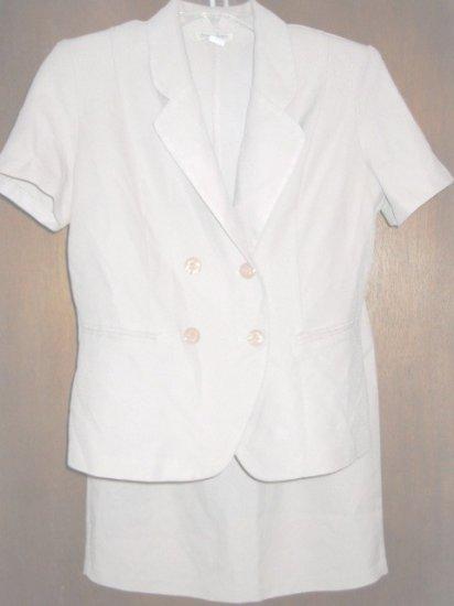 Beige Light Brown Two Piece Suit Jacket Skirt Misses 12