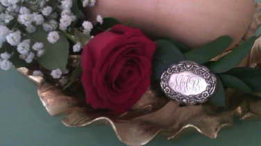 Vintage S. Kirk & Son .925 Sterling Silver Baltimore Floral Repoussé Monogram Brooch-Pin 14F 1930s