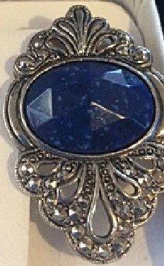 Exquisite Vintage Select Diamonds & Gems Platinum Sterlg Silver Blue Lapis Lazuli Marcasite Earrings