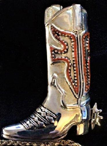Colorful Black Emboss Red Enamel Silvertone Cowboy Boot Spurs Premier Designs Signed Brooch Pin