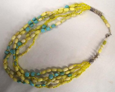 """Dramatic Vintage Turquoise Blue Yellow Stone Glass Bead Multi-Strand Necklace 22"""""""