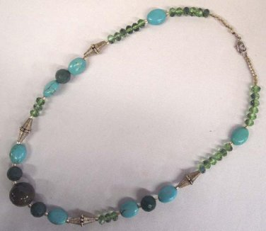 "Vintage Green Stone Blue Turquoise Glass Bead 21"" Necklace"