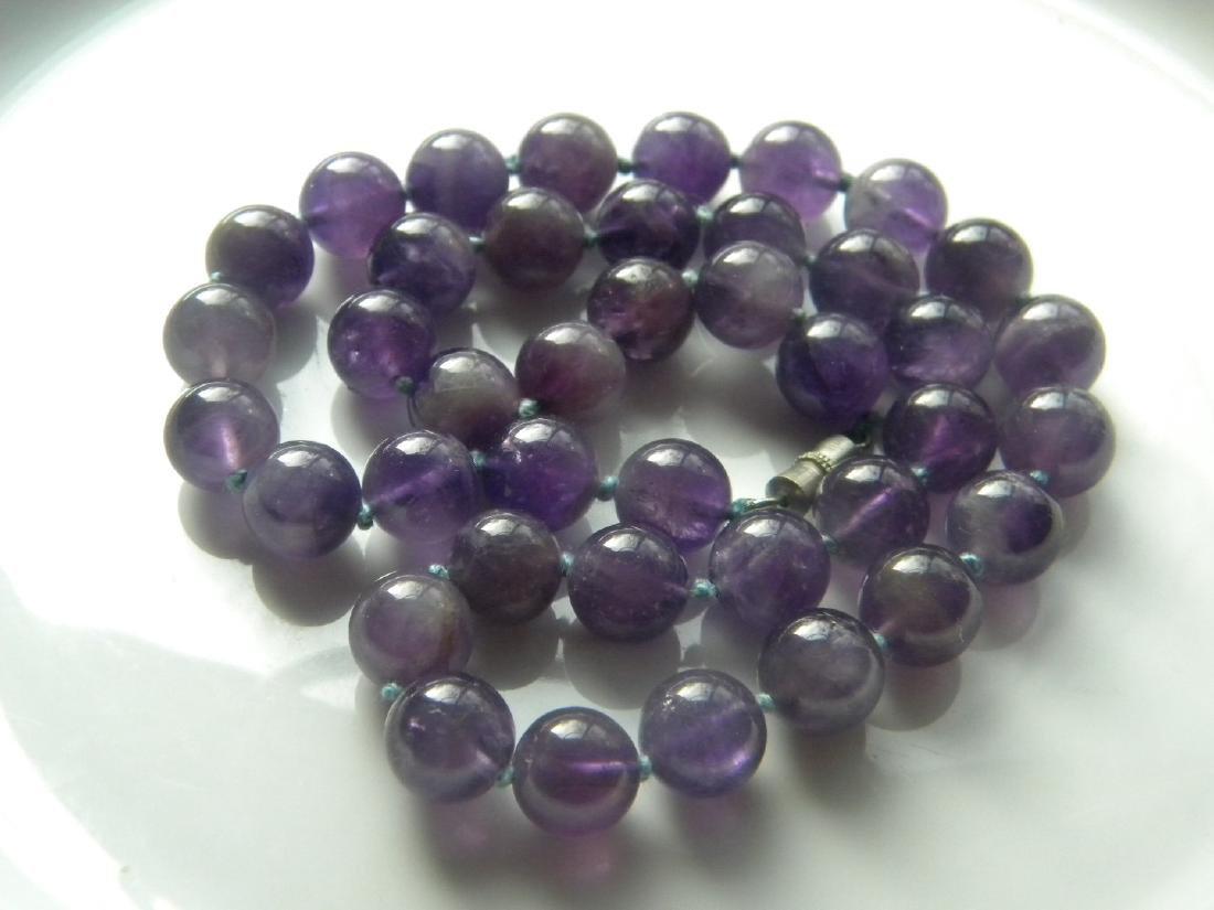 "Amethyst Natural Round 10.4 mm Bead 18"" Purple Violet Vintage Necklace"