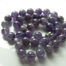 "Amethyst Natural Round 10.4 mm Bead 18"" Purple Violet Vintage Necklace"