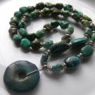 "Antique Natural Green Turquoise Bead 20"" Vintage Necklace Large 1.25"" Pendant"