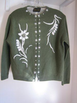 Lovely Vintage 1950s Beaded Front and Back Sweater Small