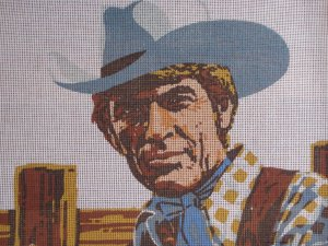 Needlepoint Canvas of Handsome Cowboy by Eric Green