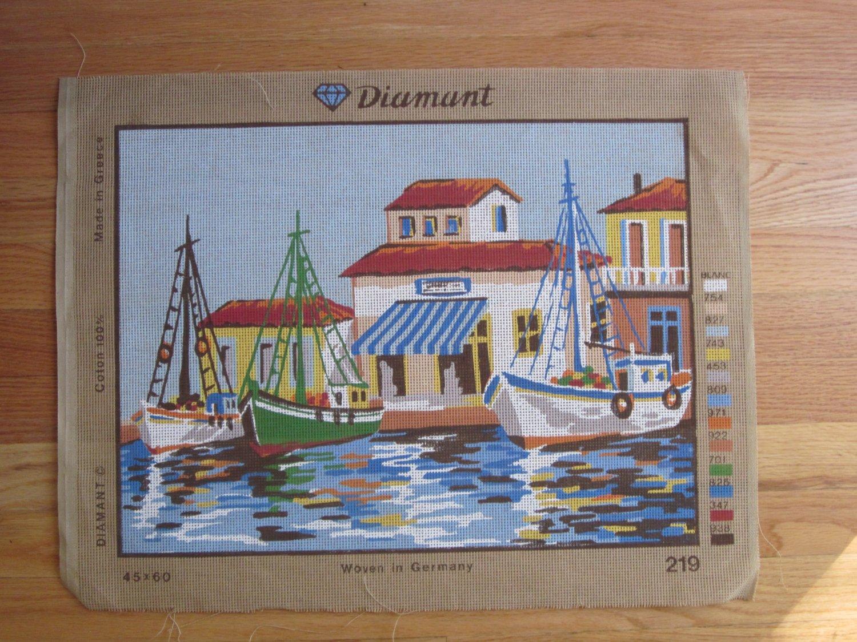 Diamant Needlepoint Canvas of Fishing Village Scene