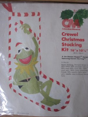 Vintage Kermit The Frog Crewel Christmas Stocking Kit Columbia Minerva