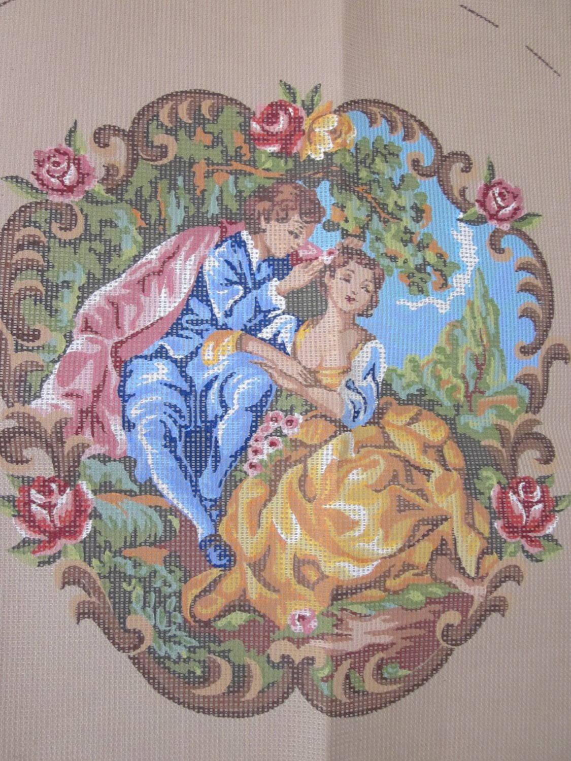 Romantic Needlepoint Canvas to Cover Chair, Back, Seat, Arms Free Shipping