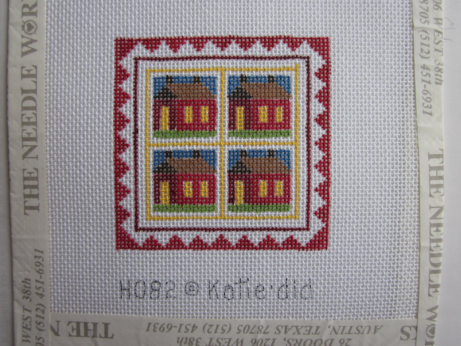 Little Red Schoolhouse Needlepoint Canvas Fibers by Katiedid Free Shipping