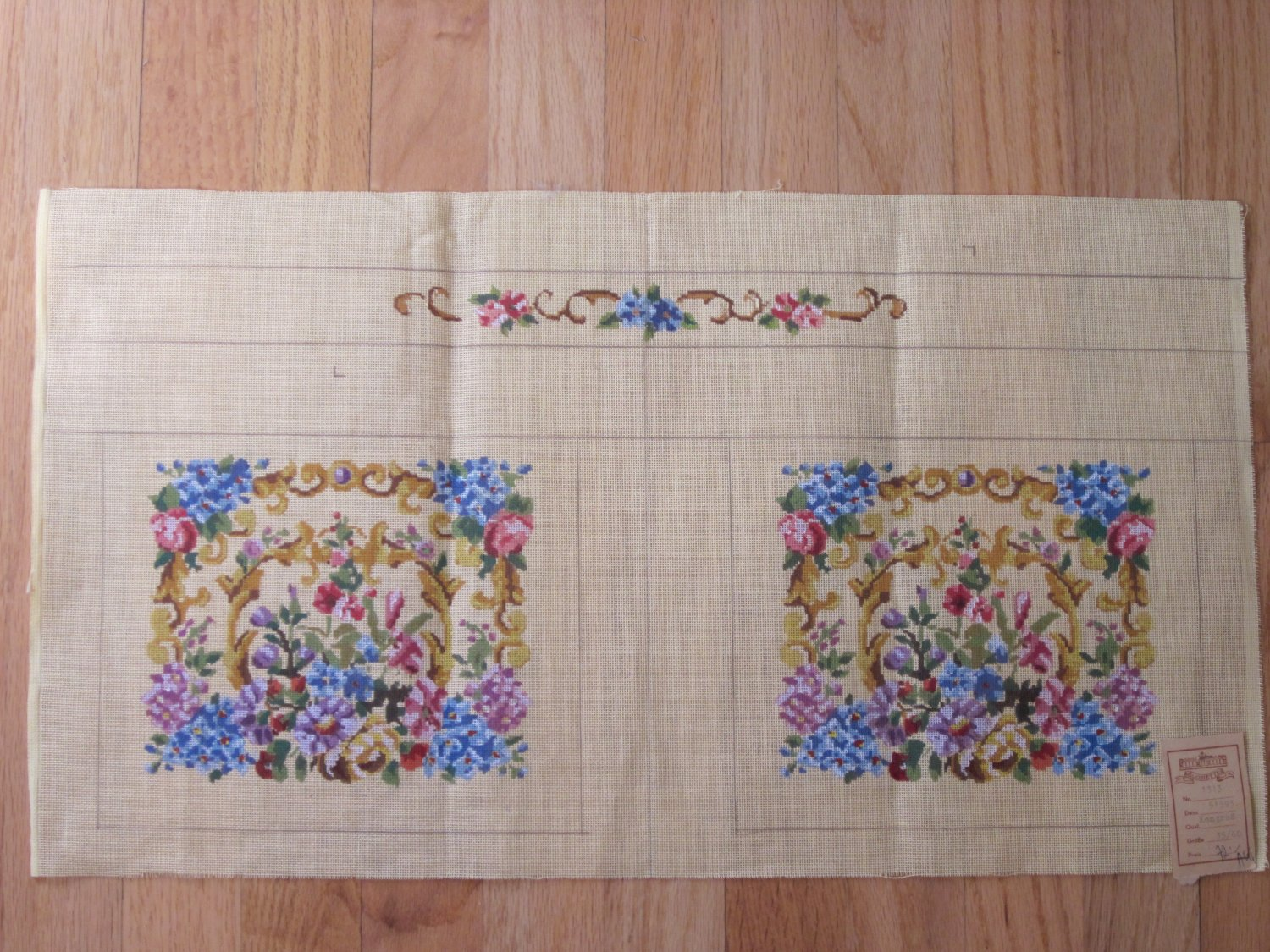Vintage French Needlepoint Canvas for Purse, Handbag Free Shipping