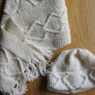Aran Irish Hand Knit Scarf and Hat Free Shipping
