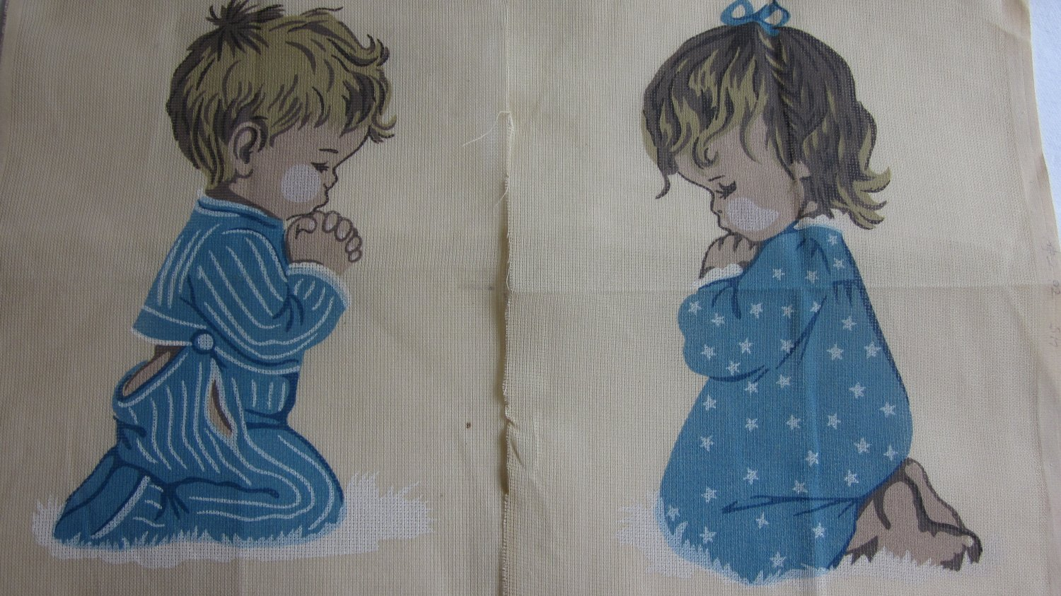 Pair Vintage Needlepoint Canvas Praying Children Boy Girl Free Shipping