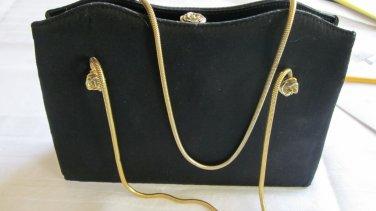 After Five Black Satin Vintage Evening Bag