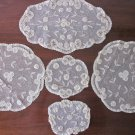 Set of 5 Guipure Lace Doilies