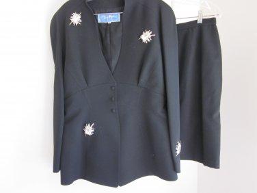 Thierry Mugler Paris Black Skirt Suit US size 14  Size 44