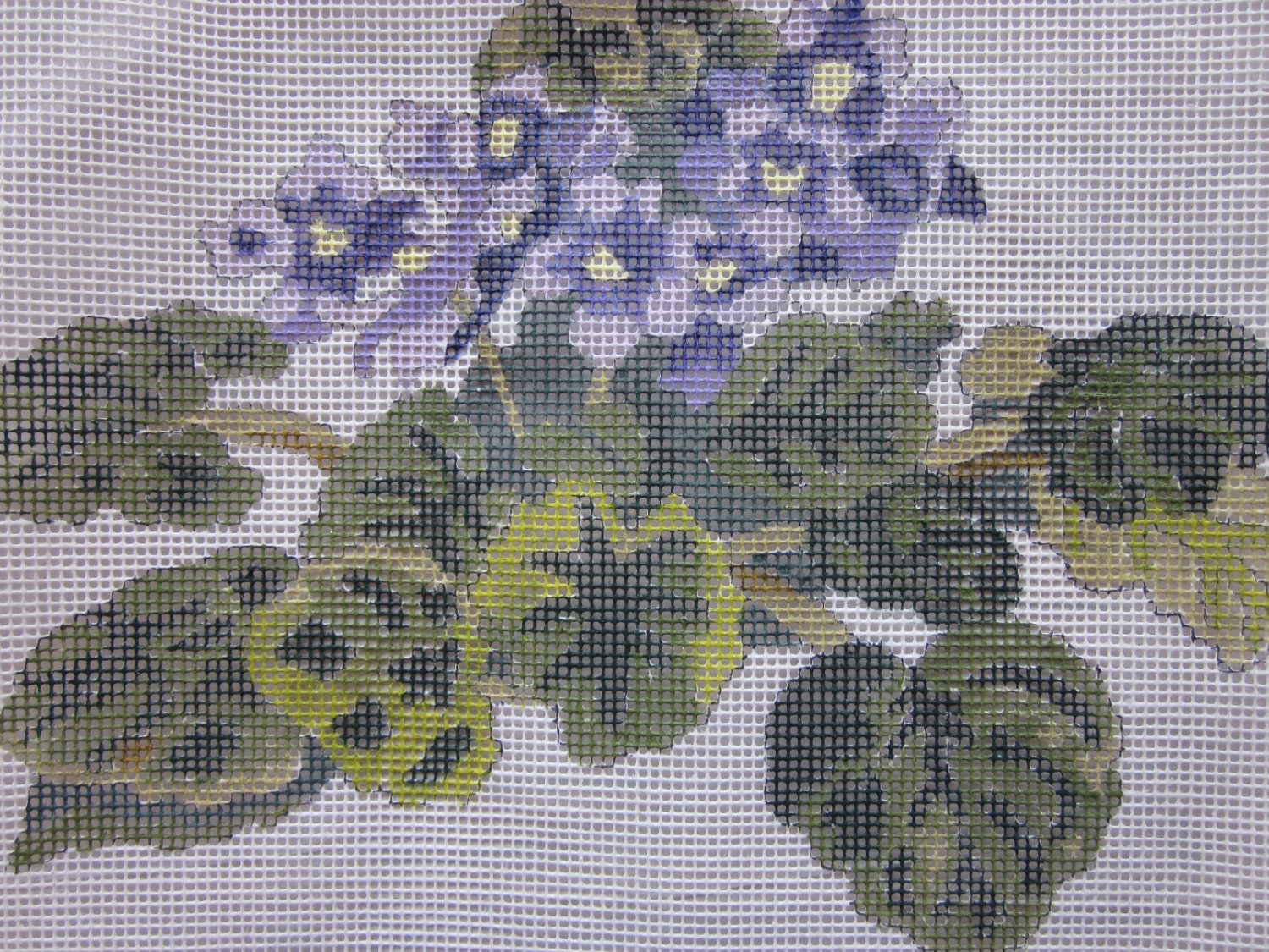 HP Floral Needlepoint Canvas Bunch of Violets Free Ship
