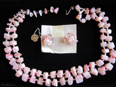 Vintage Pink Shell Earrings, Double Strand Necklace
