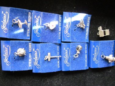 Lot of 8 Small Jezlaine Sterling Silver Charms, Free Ship