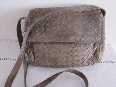 Bottega Veneta Taupe Woven Leather Shoulder Bag