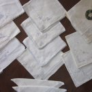 Lot 12 Small Hankies Blue Embroidery on White