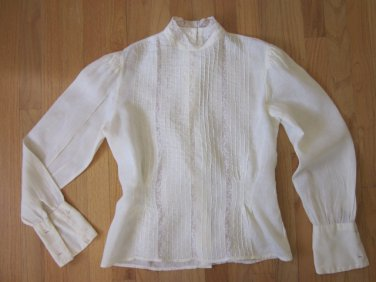 Lovely Victorian Style Linen and Lace Blouse Small Talbots