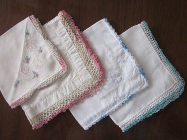 Lot Of 4 Hankies With Crocheted Edges Free Shipping