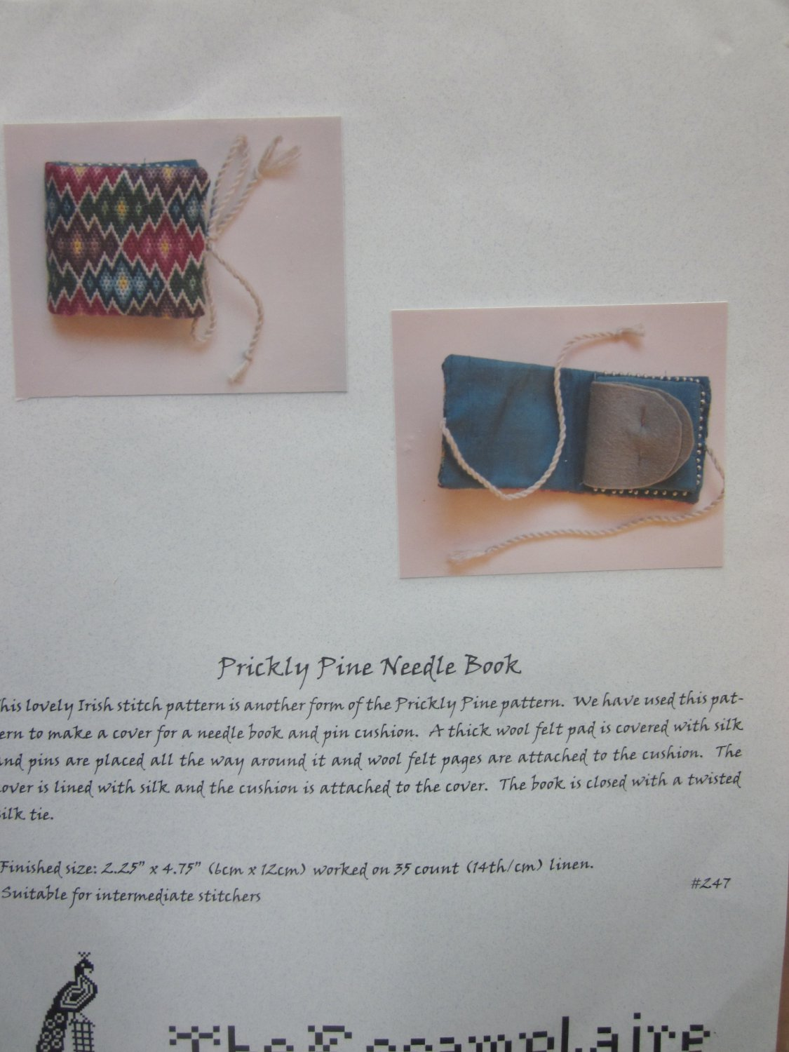 Prickly Pine Needle Book Cross Stitch Kit by The Essamplaire Silk Floss Free Ship