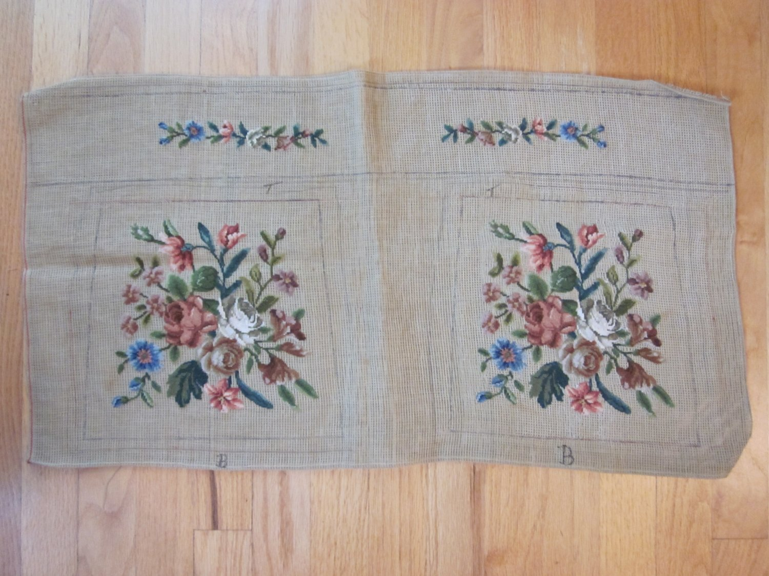 Vintage Needlepoint Purse Canvas with Preworked Floral Design Free Shipping