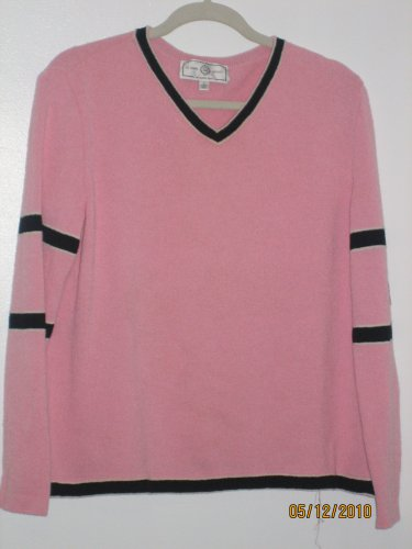 St. John Marie Gray Sport Pink v Neck Sweater Large