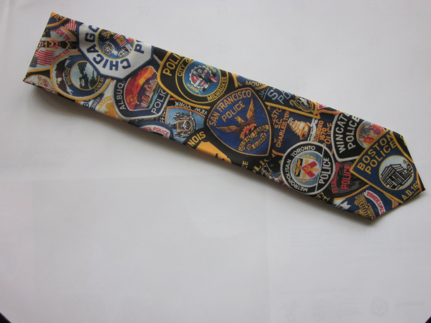 Police Patches Print Tie Free Shipping