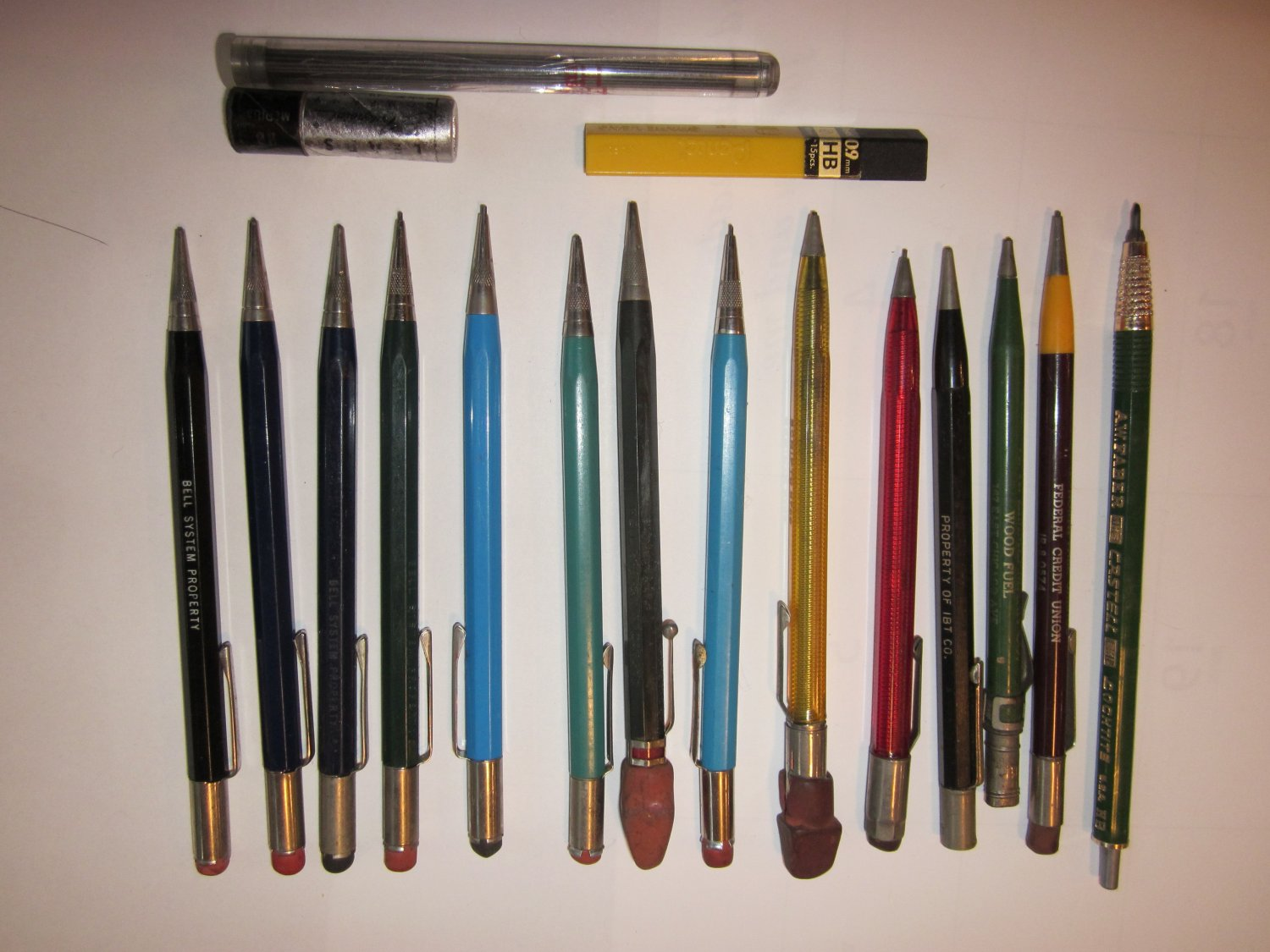 Lot Of 14 Mechanical Pencils, 2 Leads, Most Bell System Free Ship