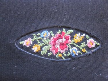 Vintage Needlepoint Case with Mirror, File, Comb Free Shipping