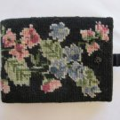 Vintage Needlepoint Billfold Wallet Floral Design, Free Shipping