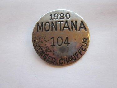 1920 Montana Chauffer License #104, Free Shipping