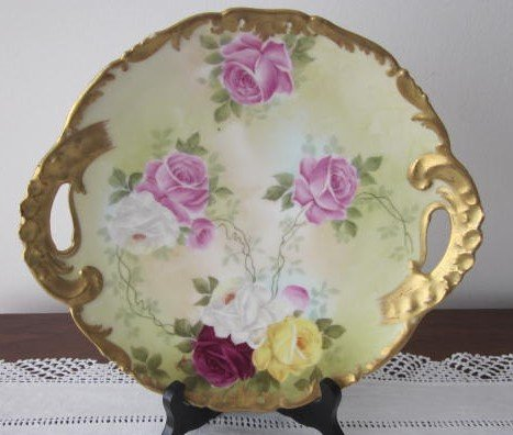 """T&V Limoges Hand Painted Plate Red & Pink Roses Gold Border 2 Handles 11"""""""