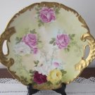 T&V Limoges Hand Painted Plate Red & Pink Roses Gold Border 2 Handles 11""