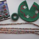 Dollhouse Christmas Decorations Needlepoint Tree Skirt, Paper Chain, Wreaths