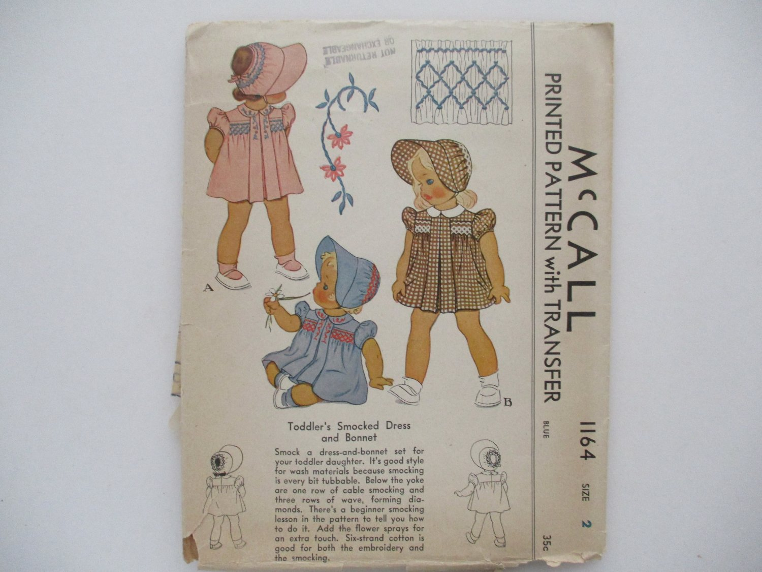 2 Toddler Girls Vintage McCall Patterns with Transfers Size 2 Free Shipping