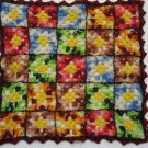 Vintage Doll Bed Blanket Crochet Multicolored Granny Squares Free Shipping