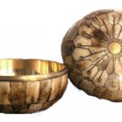 BRASS AND BONE BOWL FROM MYANMAR
