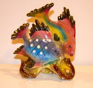 Vintage Luster Fish Pair Figurines